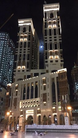 Hotel S Towers With A Full Moon Picture Of Conrad Makkah Mecca Tripadvisor
