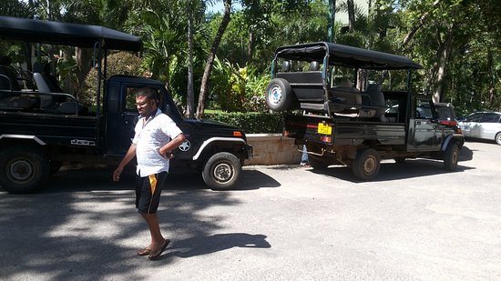Hambantota, Sri Lanka: Converted trucks that can take 6 people