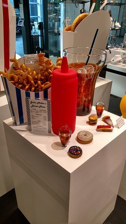 Corning, NY: Glass fast food display in the museum store