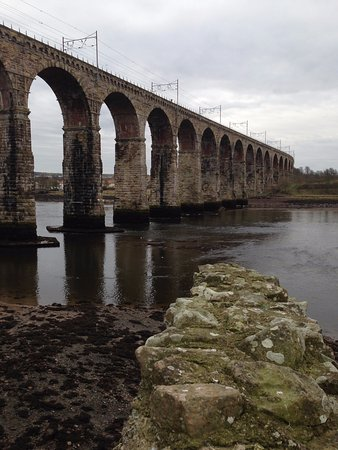 Berwick Upon Tweed Castle & Ramparts: View from the Castle onto the Royal Railway Bridge