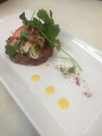 Riverside Farm Market and Cafe: tuna tartare w/ pickled shrimp & egg yolk