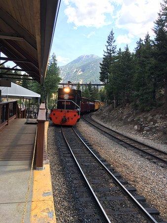 Georgetown, CO: Train backs up to start loop.