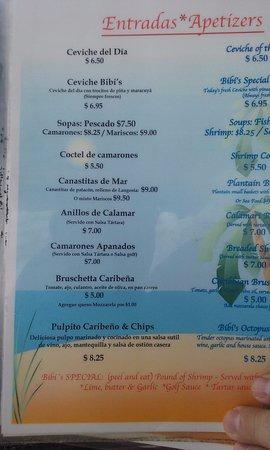 Carenero Island, Panama: Menú platos principales