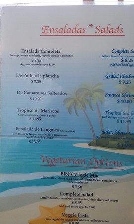 Carenero Island, Panama: Menú ensaladas