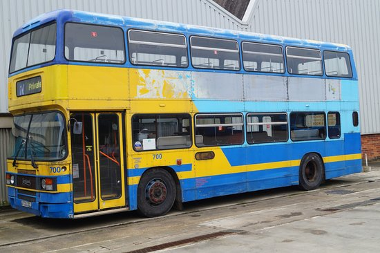 Isle of Wight Bus Museum: A Leyland Olympian parked in the yard.