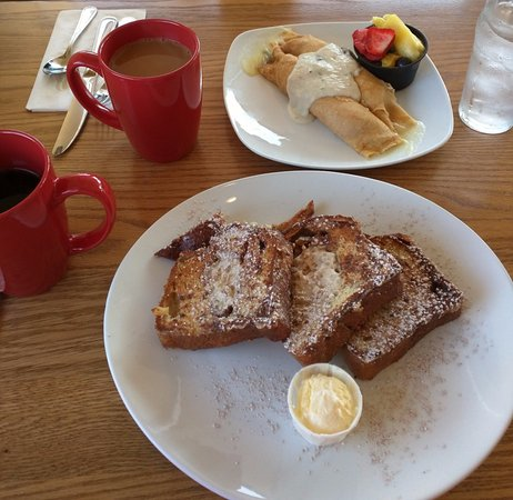 Broomall, PA: Crepes Florentine, apple walnut stuffed French toast.