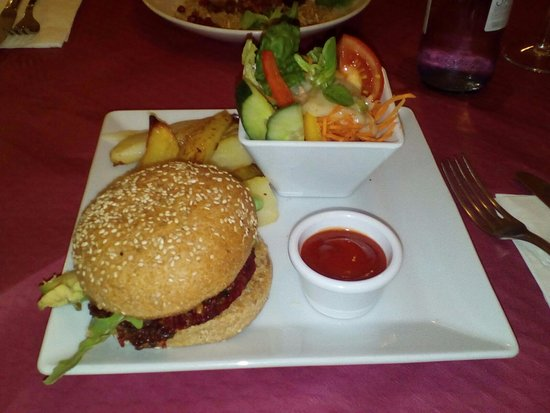 Restaurante Vegetariano: Hamburguesa Hippy love vegana y riquísima