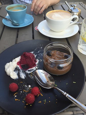 Haapsalu, Estonia: Rye bread cream with black current sorbet and whipped cream with almonds and raspberries