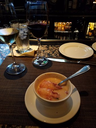 Lobster bisque with large chunks of lobster