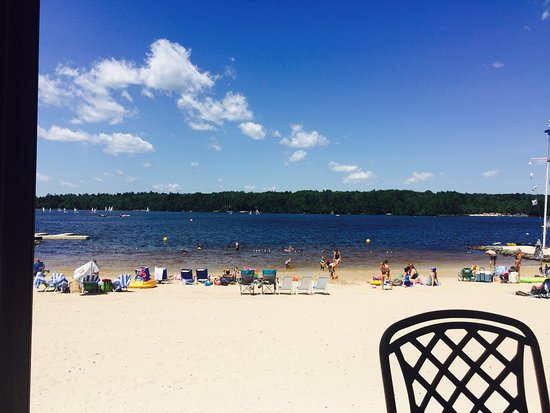 Pocono Pines, PA: Beach-lake sight on the clubhouse