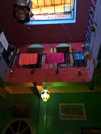 Rainbow Marrakech Hostel: View from the bottom of the riad building! V colourful and living up to its name!!