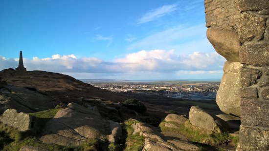View over Camborne towards St Ives bay and the Scilly Isles