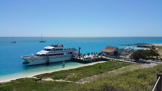 Dry Tortugas National Park, FL: Look out at the Ferry that brought us over. This was taken from top of Fort