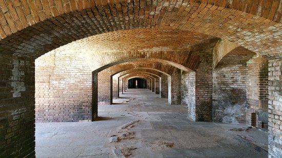 Dry Tortugas National Park, FL: Looking down through the arches where the cannons used to sit in each bay