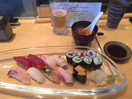Torrance, CA: sushi plat 25 $ with a miso soup and a fresh salad