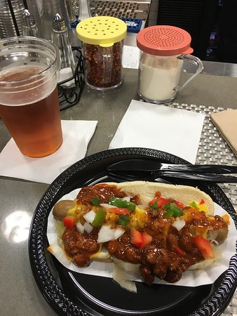 East Elmhurst, NY: Sam Adams draft and Hot dog with the works!!!!  Awesomeness.