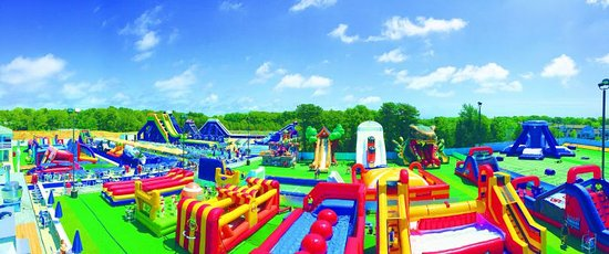 A panoramic of the Cape Cod Inflatable Park