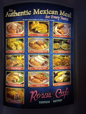 Rosa's Cafe & Tortilla Factory: Nice selections. You order at the counter and drink fountain allows easy free refills.