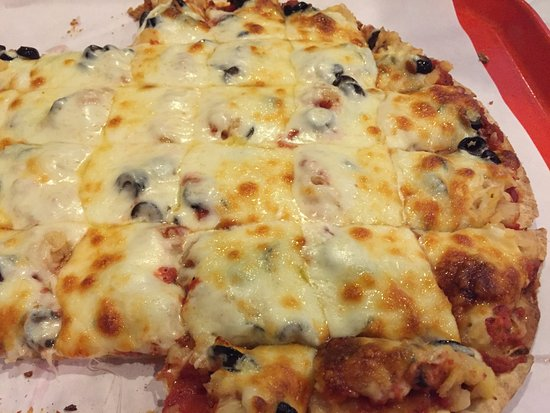North Saint Paul, MN: Large Black Olive & Pineapple Pizza at Village Pizza
