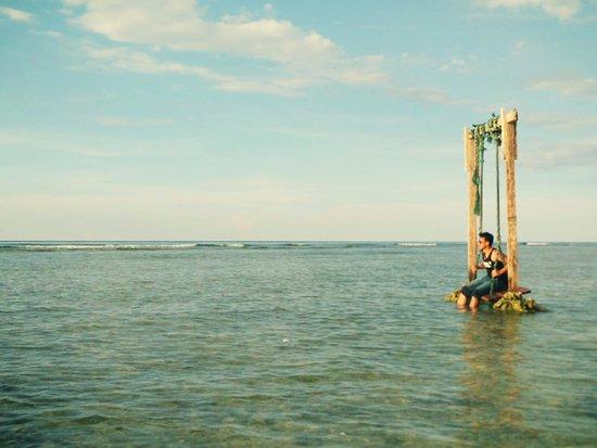 หมู่เกาะกีลี, อินโดนีเซีย: Kita bisa foto di ayunan di tepi pantai, yang begitu keren.