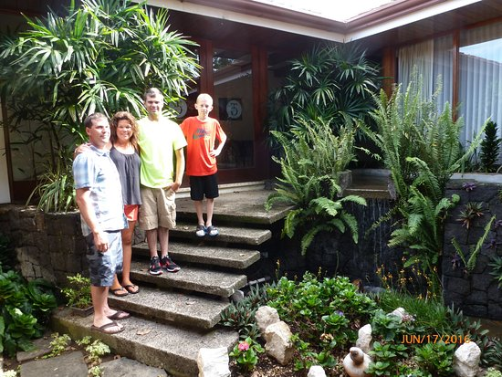 San Antonio De Belen, Costa Rica : Garden area with waterfall
