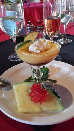 Corrales, NM: Key lime pie in a champagne glass with lime zest.