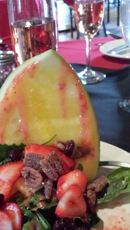 Corrales, NM: Watermelon, strawberry, candied pecan, chard greens in lavender/balsamic dressing.