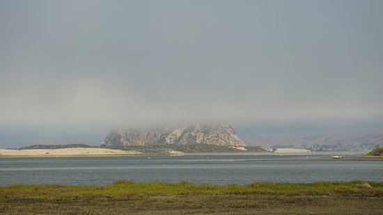 Los Osos, CA: Morro Rock from the preserve as the fog rolls in