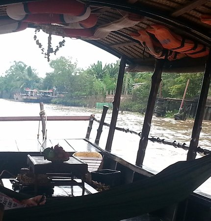 Vinh Long, Vietnam: Relaxing on the boat