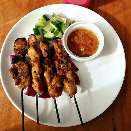 Parramatta, Australia: satay chicken skewers and peanut sauce