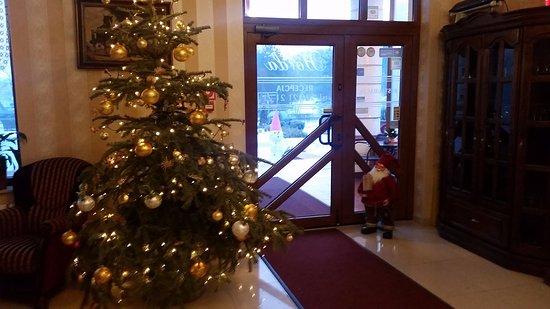 Slubice, Polonia: Новогоднее настроение прямо на входе в отель.