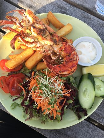 West Runton, UK: Bring your own beer and the most amazing grilled lobster. An amazing spot with barley fields to