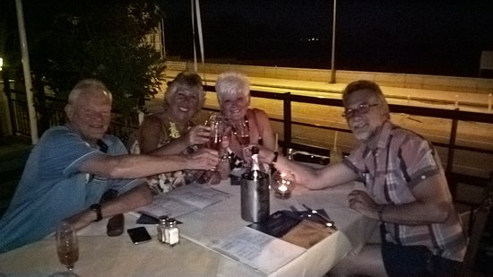 Anesi Restaurant: Celebrating with champage and old friends.