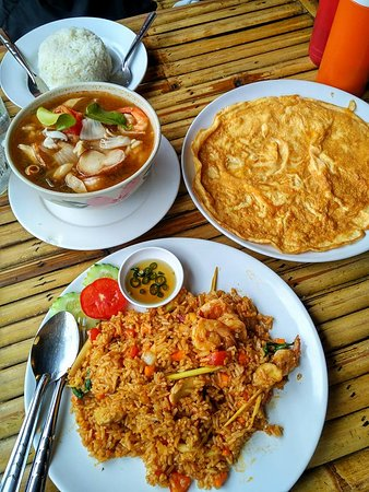 Egg omelette, Tom Yum seafood soup and Tom Yum prawn fried rice