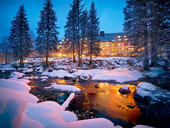 Vail Cascade Resort & Spa: Vail Cascade Exterior Winter Gore Creek Signature