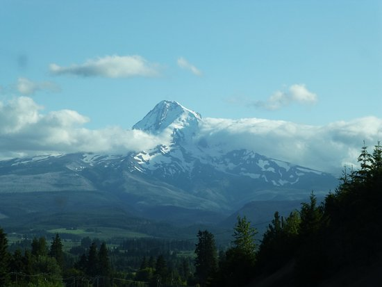 Hood River, OR: Mt. Hood before it was overcome with weather.