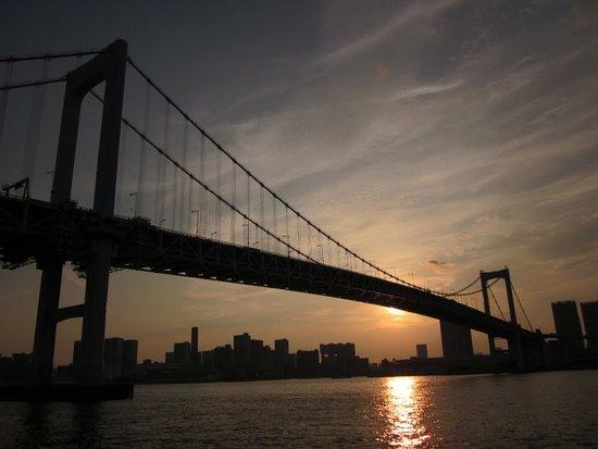 Minato, Japan: It is Rainbow Bridge ,between Shibaura Pier and the Odaiba waterfront.
