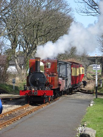 Douglas, UK : IOM steam railway locomotive No. 8 'Fenella' at Castletown with a mixed train