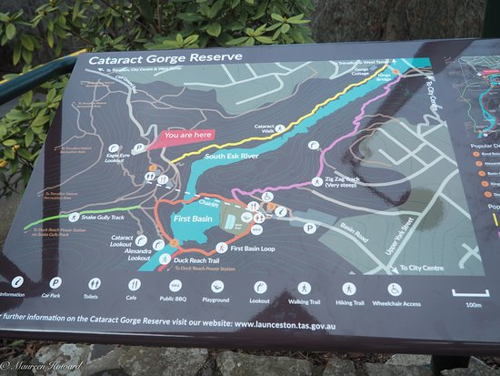 Launceston, Austrália: Well defined map of the Gorge including carparks and walks.