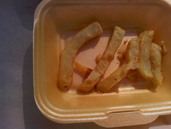 Great Ayton, UK: High in poly-unsaturated fat and looking like the polystyrene carton?