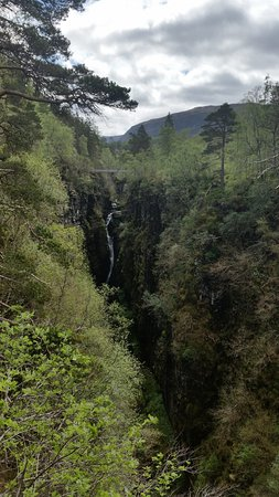 The river plunging into Corrieshalloch Gorge