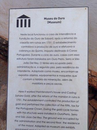 Museu do Ouro & Casa de Borba Gato : Descritivo