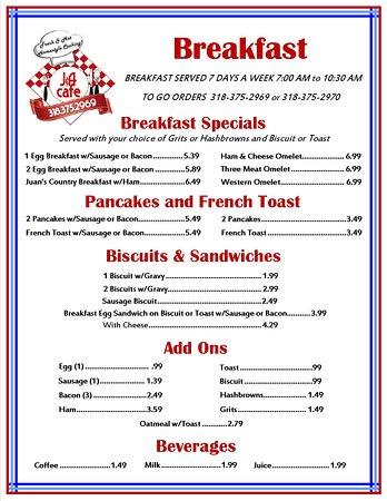 Vivian, LA: Breakfast Menu