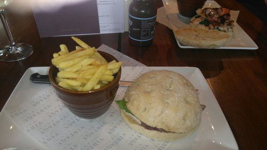 Andover, UK: Steak and horseradish sandwich with fries