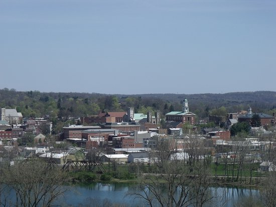 Mount Vernon, OH: View of the Courthouse from the smoke stak