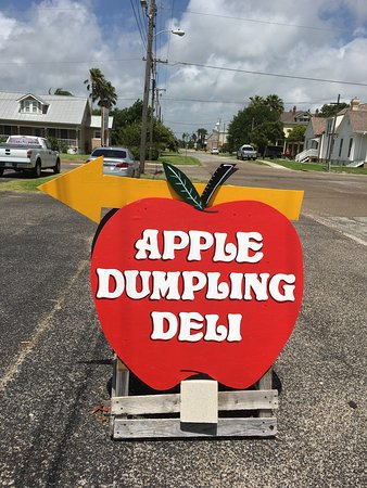 Apple Dumpling Deli: A sandwich sign for a sandwich shop.