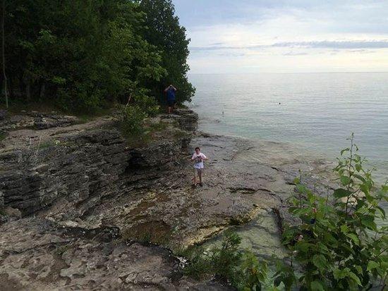Sturgeon Bay, Wisconsin: My sullen teen finally enjoying himself.