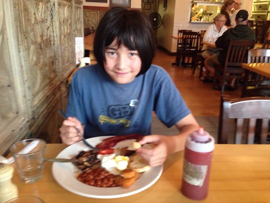 Fernie, Canada: Jared, 13, enjoying his favourite breakfast of our trip.