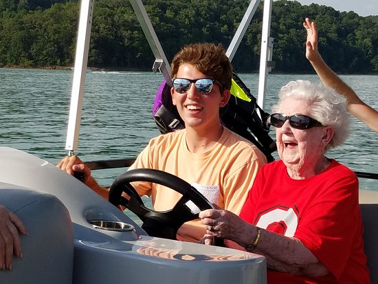 La Follette, TN: That's the soon to be 100 years old matriarch of our family at the controls of our Oasis pontoon