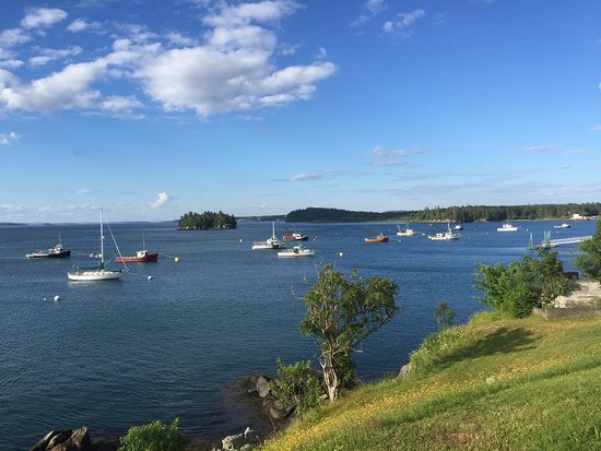 Lubec, ME: View from guest room deck toward Campobello Island